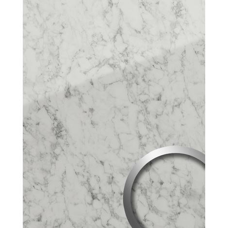 Panneau mural aspect mabre WallFace 19345 MARBLE WHITE Panneau décoratif lisse d'aspect pierre naturelle brillant résistant à l'abrasion auto-adhésif blanc blanc-gris 2,6 m2