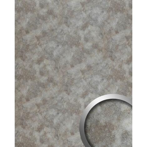 Panneau mural aspect métal WallFace 20187 OXIDIZED Silver AR lisse Revêtement mural design vintage brillant auto-adhésif résistant à l'abrasion argent gris-argent 2,6 m2
