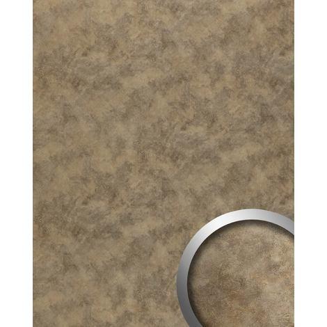 Panneau mural aspect métal WallFace 20188 OXIDIZED Nickel AR lisse Revêtement mural design vintage brillant auto-adhésif résistant à l'abrasion brun brun-terre 2,6 m2