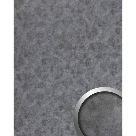 Panneau mural aspect métal WallFace 20190 OXIDIZED Titan AR lisse Revêtement mural design vintage brillant auto-adhésif résistant à l'abrasion argent gris 2,6 m2