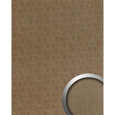 Panneau mural aspect métal WallFace 20200 SLIGHTLY USED Bronze AR lisse Revêtement mural used look brossé auto-adhésif résistant à l'abrasion bronze gris-brun 2,6 m2