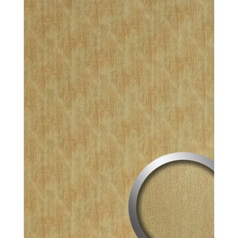 Panneau mural aspect métal WallFace 20201 SLIGHTLY USED Gold AR lisse Revêtement mural used look brossé auto-adhésif résistant à l'abrasion or beige-brun 2,6 m2