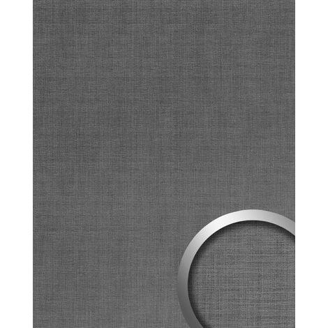Panneau mural aspect métal WallFace 20204 Refined Metal Titan AR lisse Revêtement mural aspect métal brossé brillant auto-adhésif résistant à l'abrasion gris aluminium-gris 2,6 m2