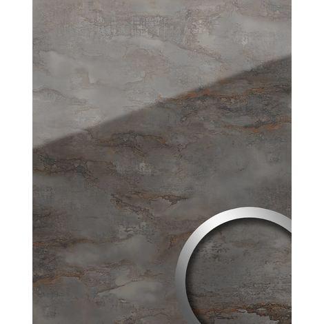 Panneau mural aspect verre WallFace 20223 GENESIS Grey AR+ lisse Revêtement mural aspect marbre très brillant auto-adhésif résistant à l'abrasion gris gris-anthracite 2,6 m2