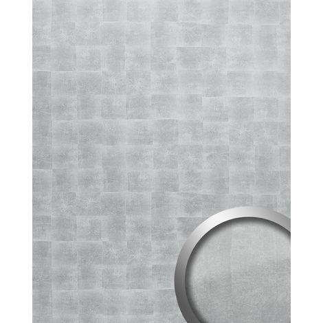 Panneau mural autoadhésif Aspect métal WallFace 21497 DECO LUXURY Revêtement mural argenté gris 2,60 m2