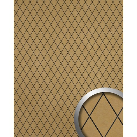 Panneau mural autoadhésif Revêtement mural WallFace 18586 LINEA Mosaique de losanges beige-doré avec joints noirs 2,60 m2