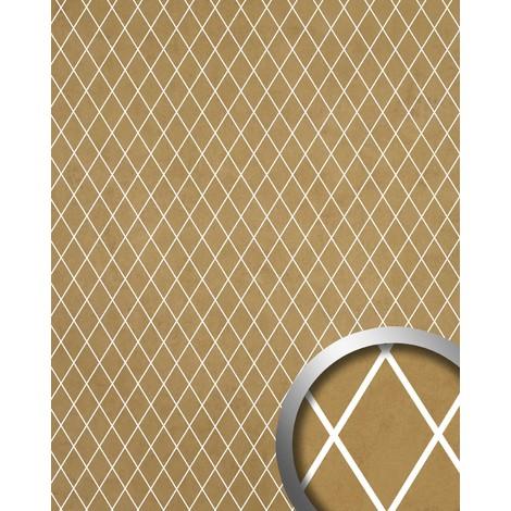 Panneau mural autoadhésif Revêtement mural WallFace 18606 TL LINEA Mosaique de losanges couleur beige-doré mat joints translucides 2,60 m2