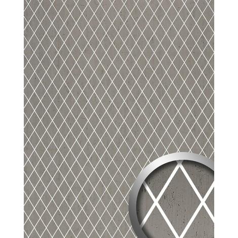 Panneau mural autoadhésif Revêtement mural WallFace 18607 TL LINEA Mosaique de losanges platine gris joints translucides 2,60 m2