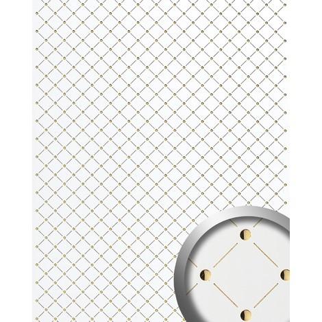Panneau mural autoadhésif Revêtement WallFace 17856 3D mural Décoration Mosaique blanc de perle doré 2,60 m2