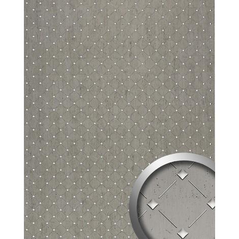 Panneau mural autoadhésif Revêtement WallFace 17857 3D mural de luxe Décoration Mosaique platine gris argenté 2,60 m2