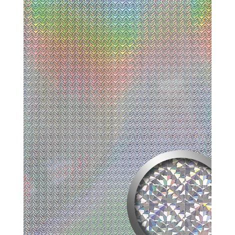 Panneau mural autoadhésif WallFace 10175 DECO GALAXY Décoration métal brillant spéculair argenté 2,60 m2