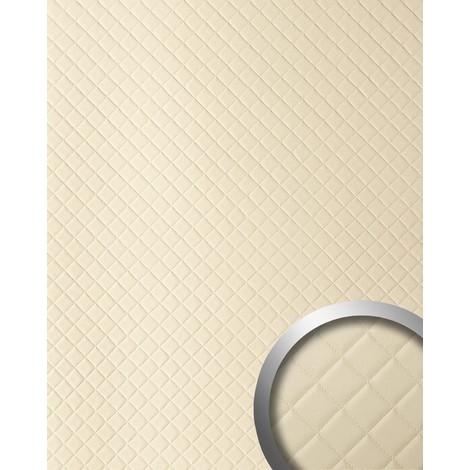 Panneau mural autoadhésif WallFace 13863 ROMBO Revêtement mural de luxe aspect cuire motif à carreaux crème 2,60 m2