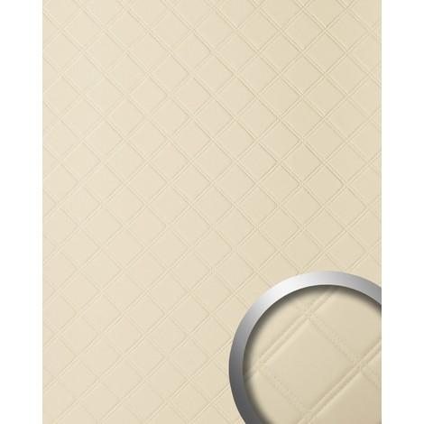 Panneau mural autoadhésif WallFace 13867 ROMBO Revêtement mural de luxe aspect cuire motif à carreaux crème 2,60 m2
