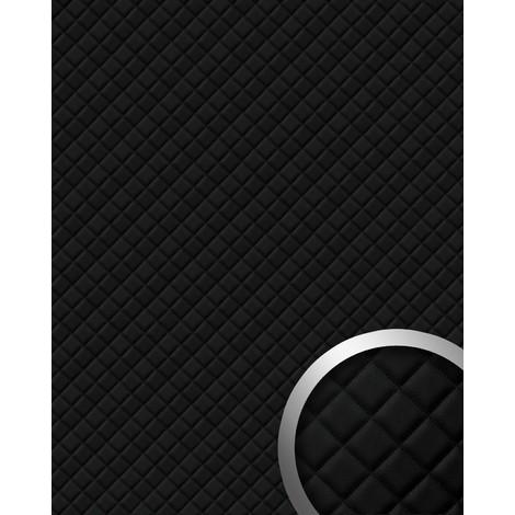 Panneau mural autoadhésif WallFace 15029 ROMBO Revêtement mural de luxe aspect cuire motif à carreaux noir 2,60 m2