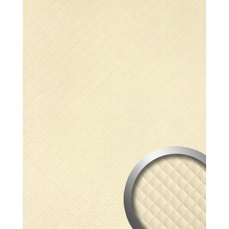 Panneau mural autoadhésif WallFace 15657 ROMBO Revêtement mural de luxe aspect cuire motif à carreaux crème 2,60 m2