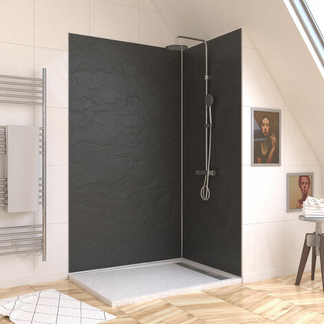 Panneau mural de douche ARDOISE en composite ardoise et resine - 120 x 210 cm - STONE\'IT ARDOISE 120