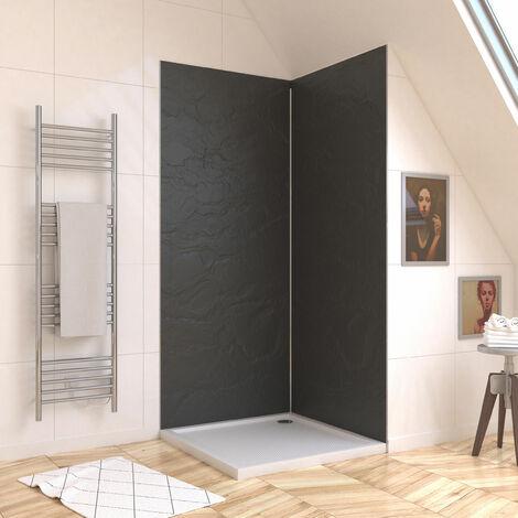 Panneau mural de douche ARDOISE en composite ardoise et résine - 90 x 210 cm - STONE\'IT ARDOISE 90