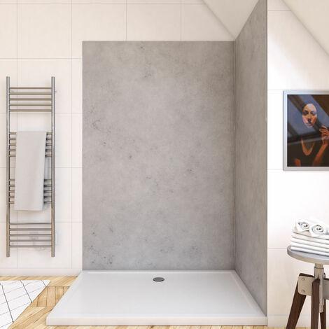 Panneau mural de douche finition Béton en composite pierre et ciment - 120 x 210 cm - STONE'IT LIGHT GREY 120