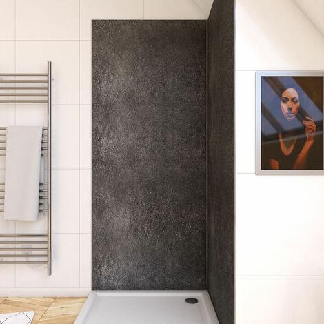 Panneau mural de douche finition Pierre en composite pierre et résine - 90 x 210 cm - STONE'IT SILVER GREY 90