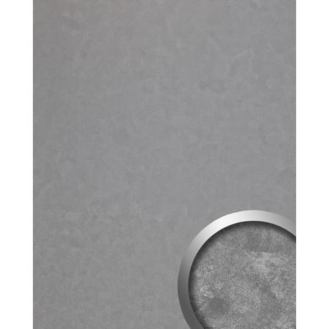Panneau mural vintage WallFace 19394 CLASSY SILVER Revêtement mural lisse d'aspect métal brillant auto-adhésif argent 2,6 m2