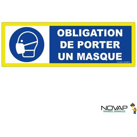 Panneau Obligation de porter un masque - haute visibilité - 450x150mm - 4090917