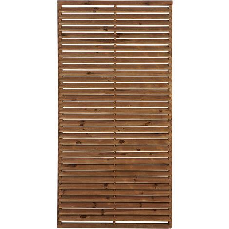 panneau occultant de cloture PREMIUM en bois traité autoclave MARRON -epaisseur 7,5cm - 90x180cm- PERSIENNE