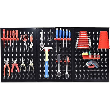 Panneau outil stockage rank mural support outil mural noir/rouge rangement outil boîte outil 17 PIC