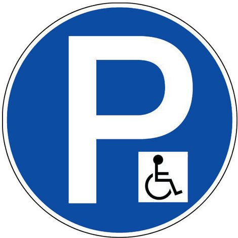 """main image of """"Panneau Parking réservé aux handicapés - Rigide Ø450mm - 4080383"""""""