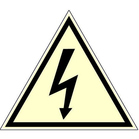 Panneau photoluminescent Danger éléctrique - Rigide Triangle 100mm - 4189048