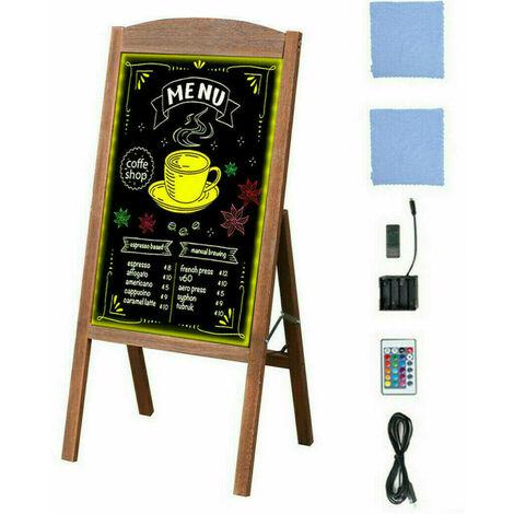 Panneau Publicitaire LED Magnetique Porte Affiche Pliable Chevalet Stop Trottoir Ardoise Café Restaurant