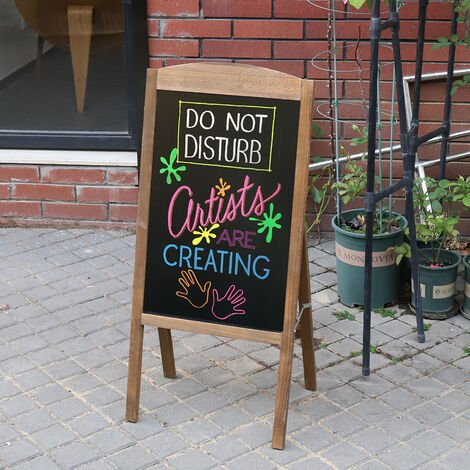 Panneau Publicitaire Magnétique Porte Affiche A1 Chevalet Stop Trottoir pour Café Bar Restaurant - Marron