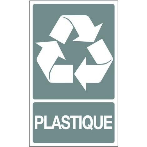 Panneau Recyclage dechets plastiques - Rigide 330x200mm - 4161051