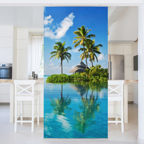 Panneau Rideau Paradis Tropical Dimension 250 X 120cm Sans