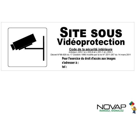 Panneau Site sous vidéoprotection avec pictogramme - Rigide 330x120mm - 4140896