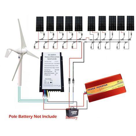 Panneau solaire 1000W + générateur éolien 400watts Kit 1.4KW et contrôleur hybride