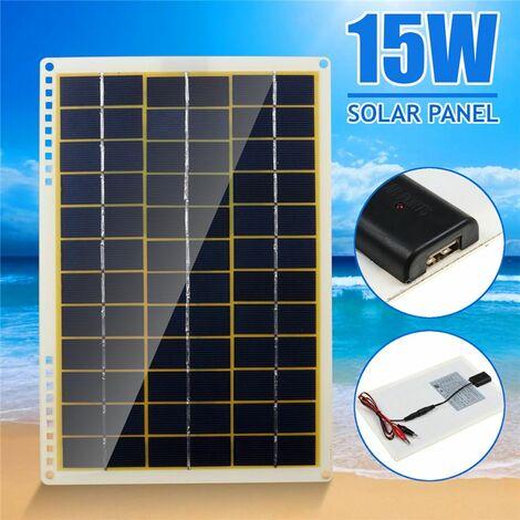 Panneau solaire 12V 15W panneau solaire polycristallin avec clip de ligne 4X ventouses pour Camping extérieur lumière de secours étanche