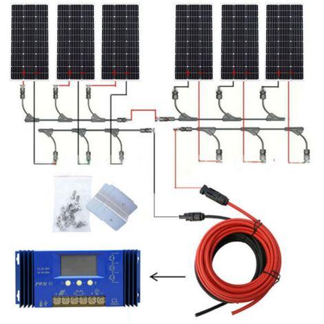 Panneau solaire 600Watt 24V Kit complet Panneau solaire PV + contrôleur 60A pour caravane