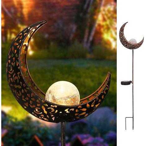 Panneau Solaire Lune Evide Modele Pelouse Lampe Exterieure Lampe En Acier Inoxydable Etanche 2V60Ma Silicium Amorphe Inclus 600Ma Cellulaire