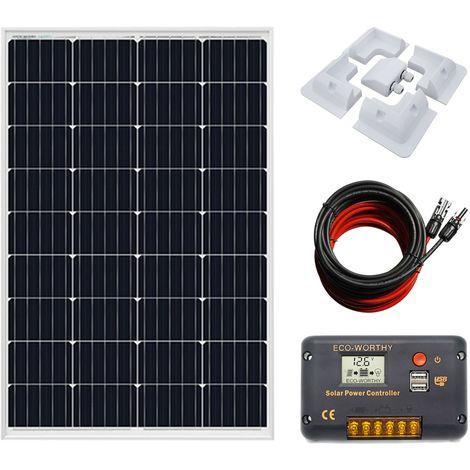 Panneau solaire mono 120W + contrôleur de chargeur 20A et ensemble complet support ABS Home Car RV