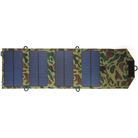 Panneau solaire pliant solaire 7W, chargeur de t¨¦l¨¦phone portable, panneau solaire portable ext¨¦rieur