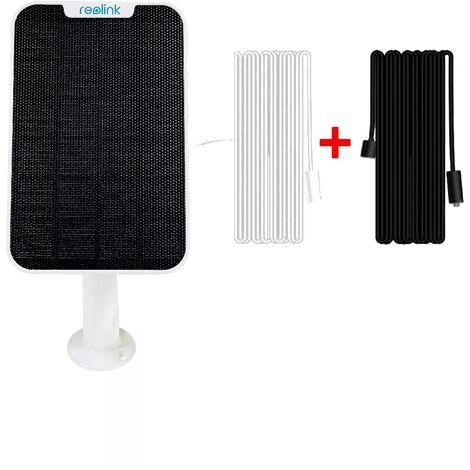 Panneau solaire pour caméras Reolink - Alimentation continue / support réglable / Câble 8 mètres pour déport important