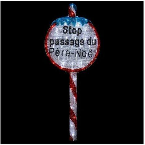 Panneau Stop de Noël - H 94 cm - 60 LEDs - Livraison gratuite