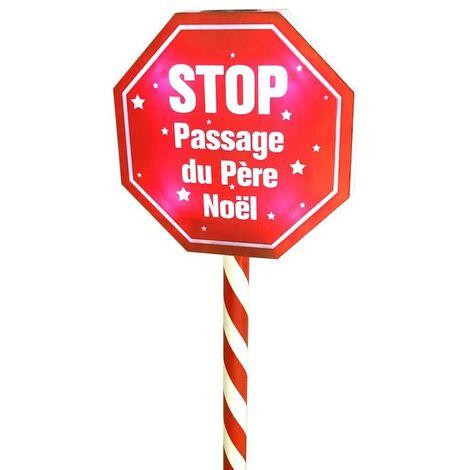 Panneau stop passage du Père Noël
