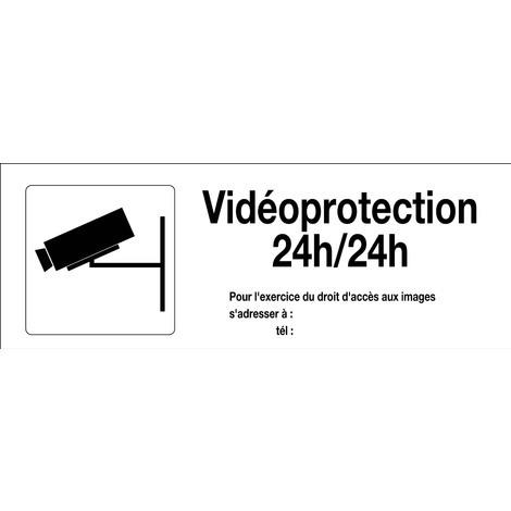 Panneau Surveillance vidéo 24h/24h avec picto Sans DECRET - Rigide 330x120mm - 4140919