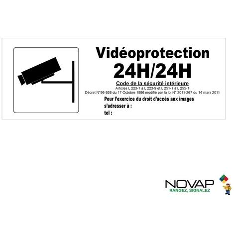Panneau Vidéoprotection 24h/24h avec pictogramme - Rigide 330x120mm - 4140889