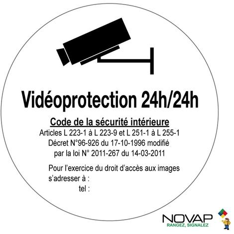 Panneau Vidéoprotection 24h/24h - Novap