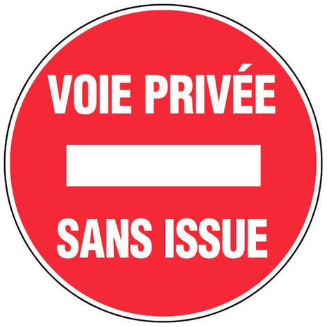 Panneau Voie privée - Sans issue - Novap