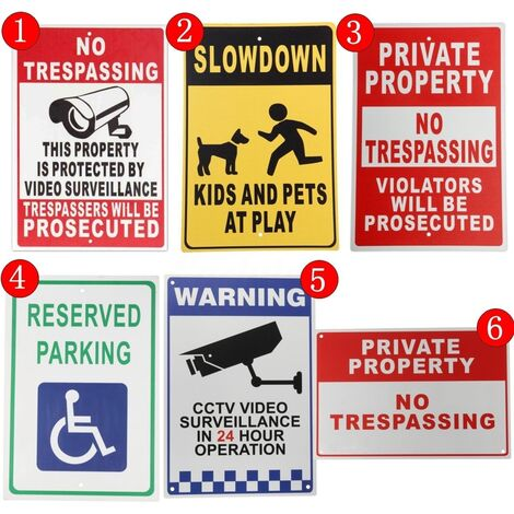 """Panneaux d'avertissement en métal en aluminium de 8 """"x12"""" décoratifs - Caméra de surveillance Vedio / Propriété privée / Parking réservé / Ralentissement 5"""