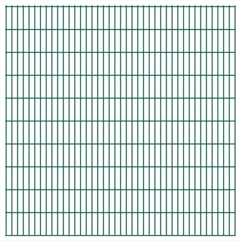 Panneaux de clôture 2 D de jardin 2008 x 2030 mm 16 m Vert