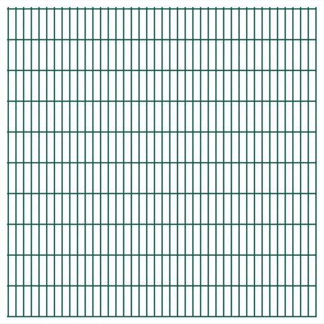 Panneaux de clôture 2 D de jardin 2008 x 2030 mm 36 m Vert